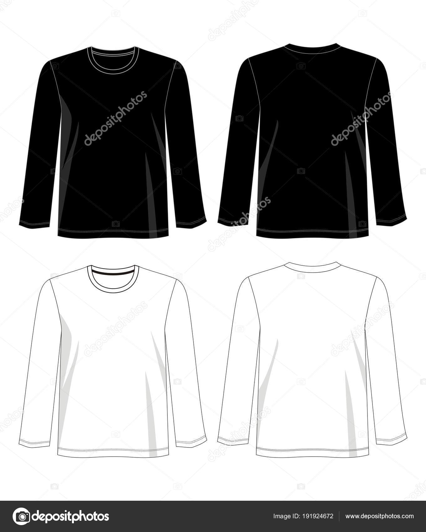 Long Sleeve Shirt Vector : sleeve, shirt, vector, Vector, Design, Shirt, Template, Color, Black, White, Image, D2ptri, Stock, 191924672