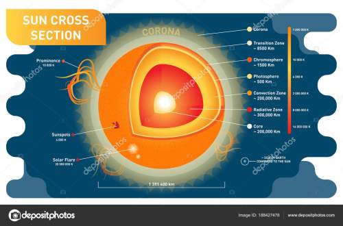 small resolution of sun cross section scientific vector illustration diagram with sun inner layers sunspots solar flare and prominence educational information poster