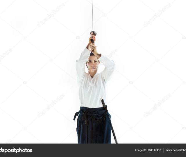 Aikido Master Practices Defense Posture Healthy Lifestyle And Sports Concept Woman In White Kimono On White Background Karate Woman With Concentrated