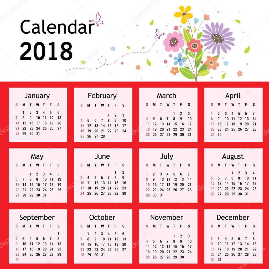 Feliz Ano Nuevo Flores Planificador Calendario Vector