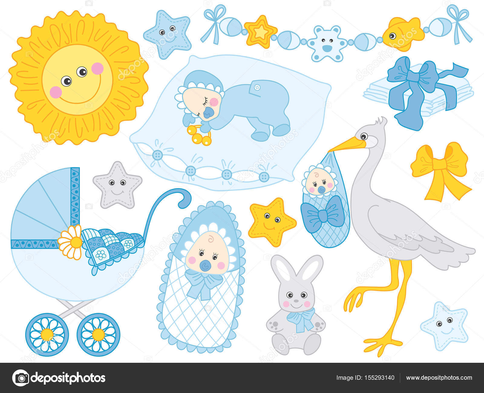 hight resolution of vector baby boy set baby shower clipart vector illustration stock vector
