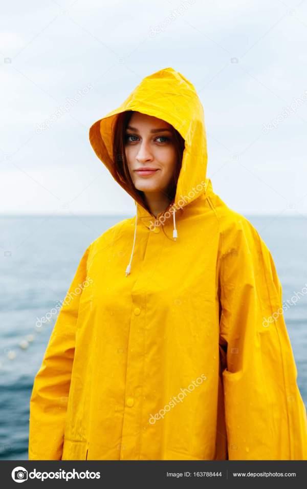 Girl Wearing Yellow Raincoat Stock Kkolosov