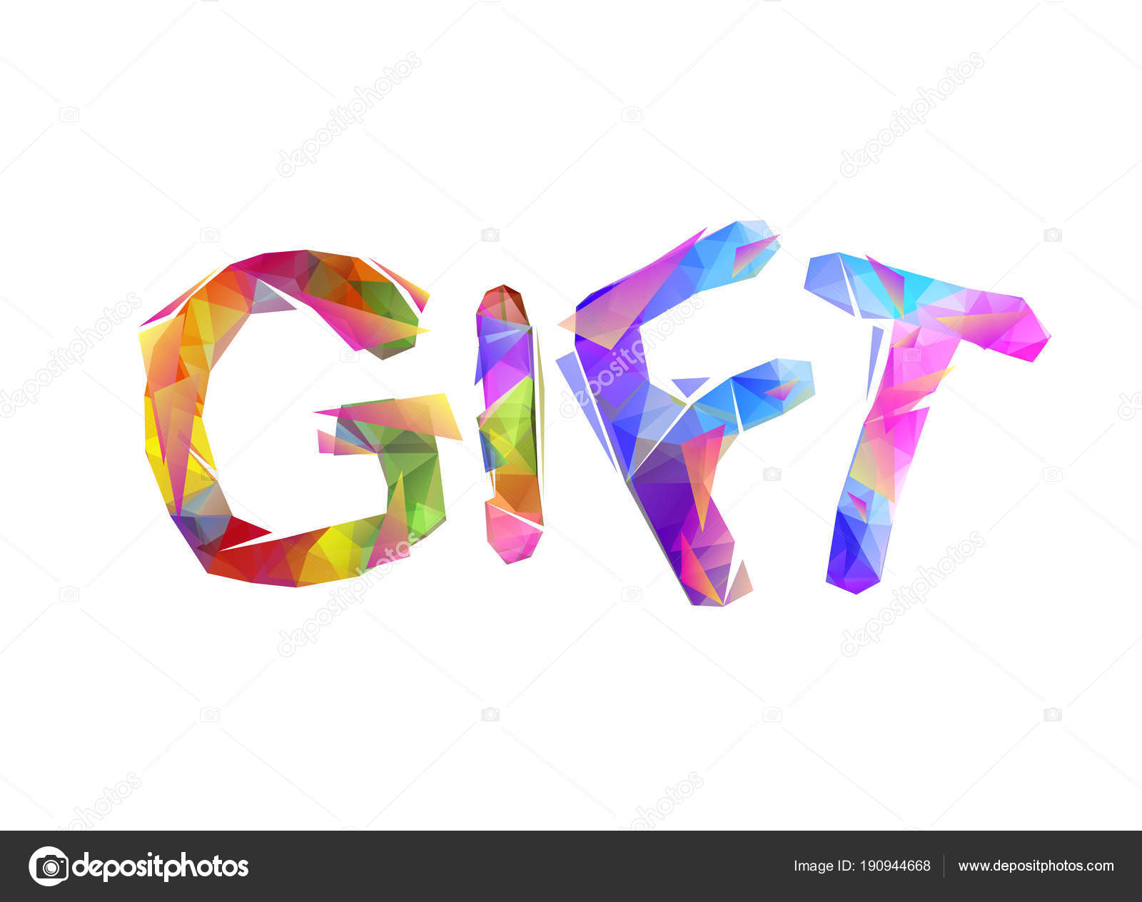 Gift. Vector Colorful Triangular Letters — Stock Vector