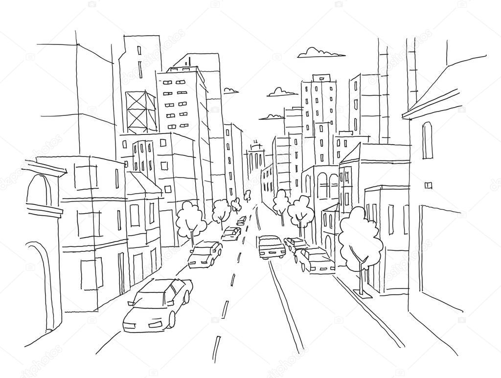 City street linear perspective sketch road view. Cars end