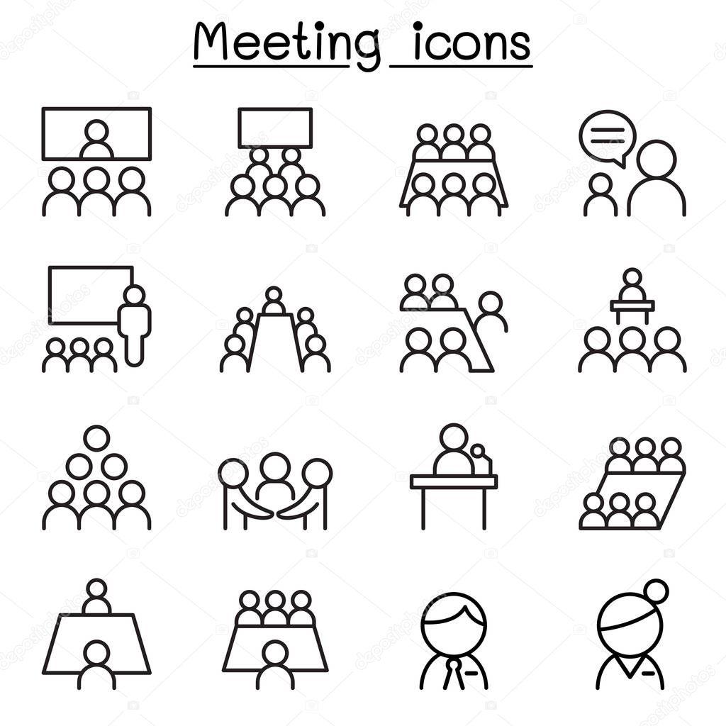 Icono De Reuniones Y Conferencias En Estilo De Linea Fina