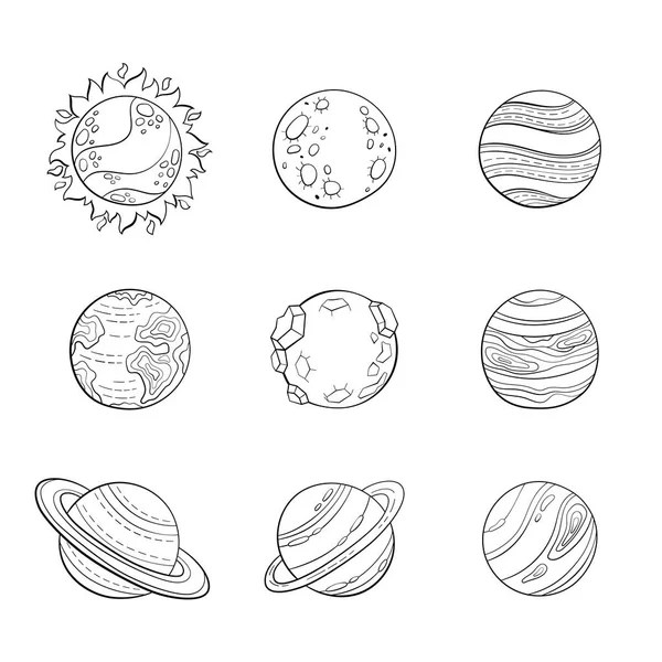 Cute Solar Sistem Planet set, the collection of coloring