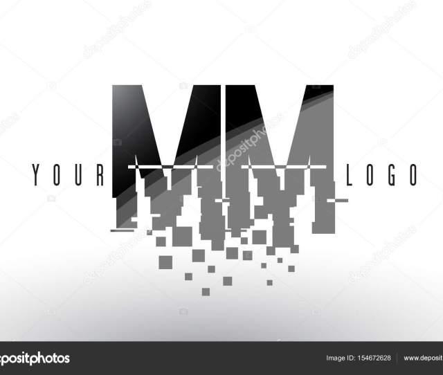 M M M M Pixel Carta Logotipo Digital Roto Negro Cuadrados Archivo Imagenes Vectoriales