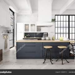 Build Kitchen Table Window Decor 现代北欧厨房在阁楼的公寓里 3d 渲染 图库照片 C 2mmedia 154025110 渲染的现代厨房里一间阁楼里 照片作者2mmedia