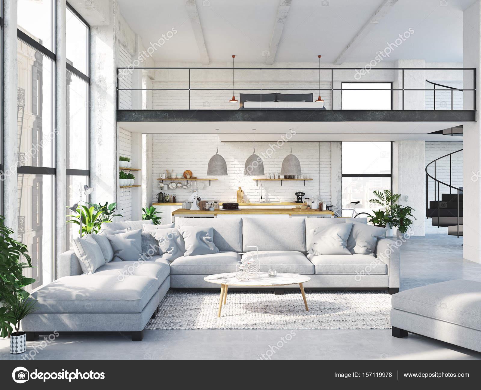 Appartamento loft moderno rendering 3D  Foto Stock