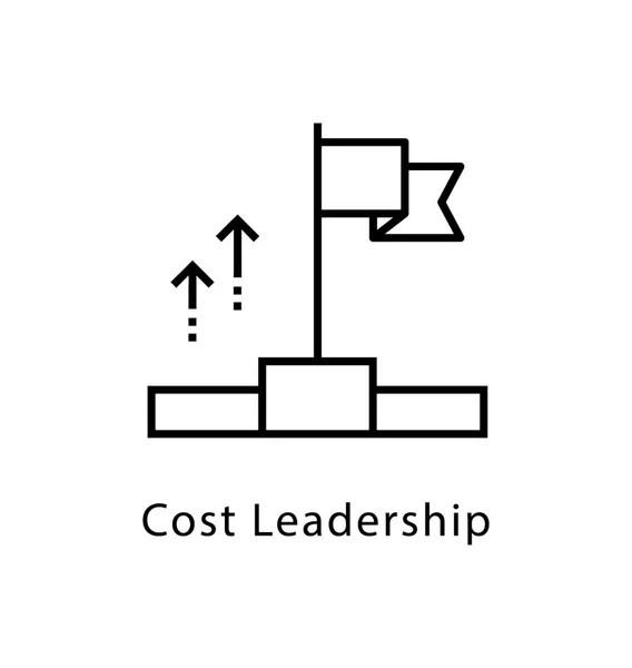 Leadership Growth Vector Line Icon — Stock Vector