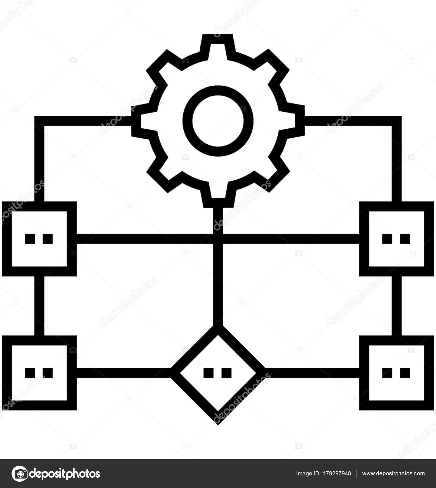 Icono Vector Flujo Trabajo Proceso