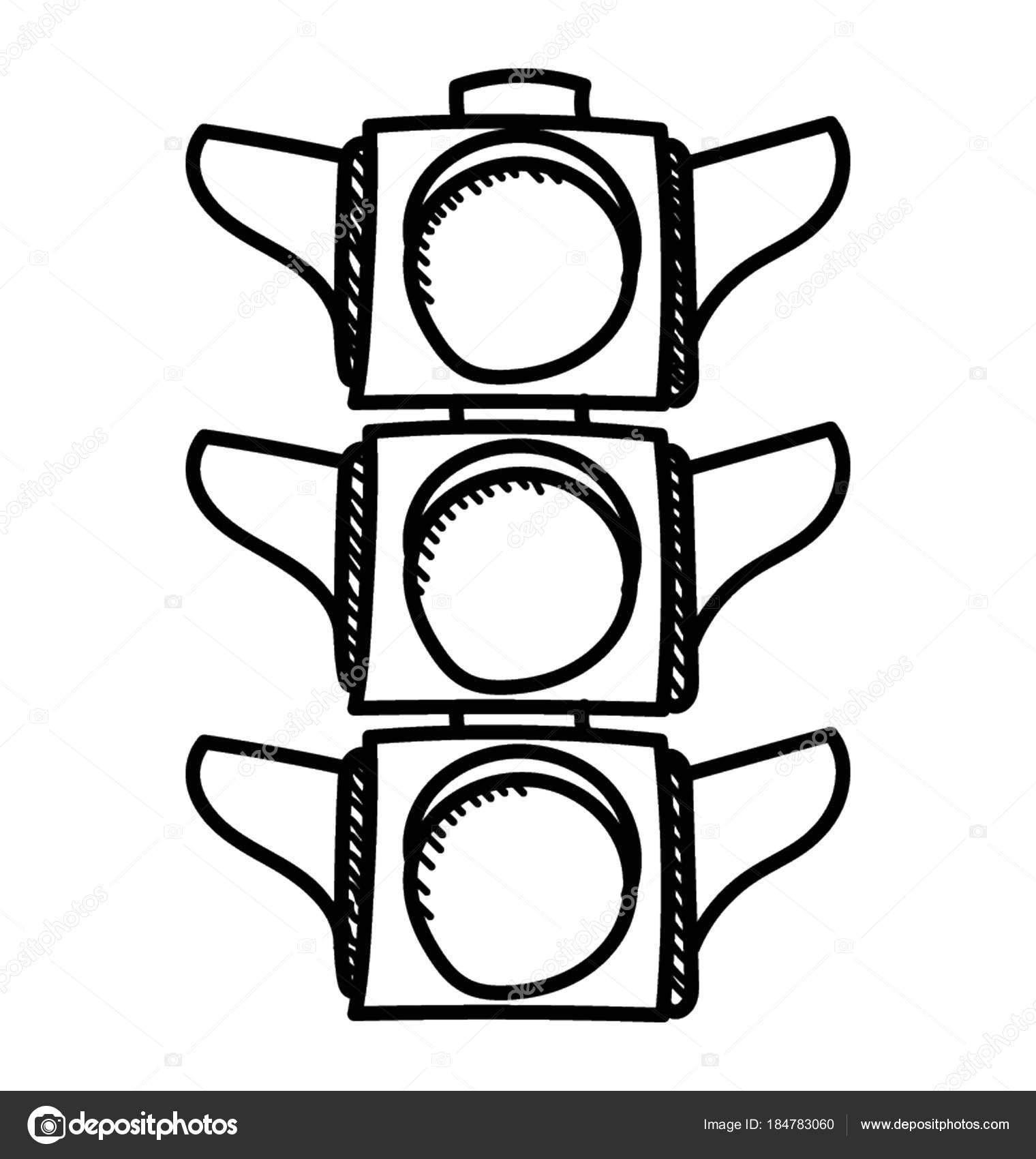 Trafik I Klar Yol Cizilmi Doodle Simgesi Sinyalleri