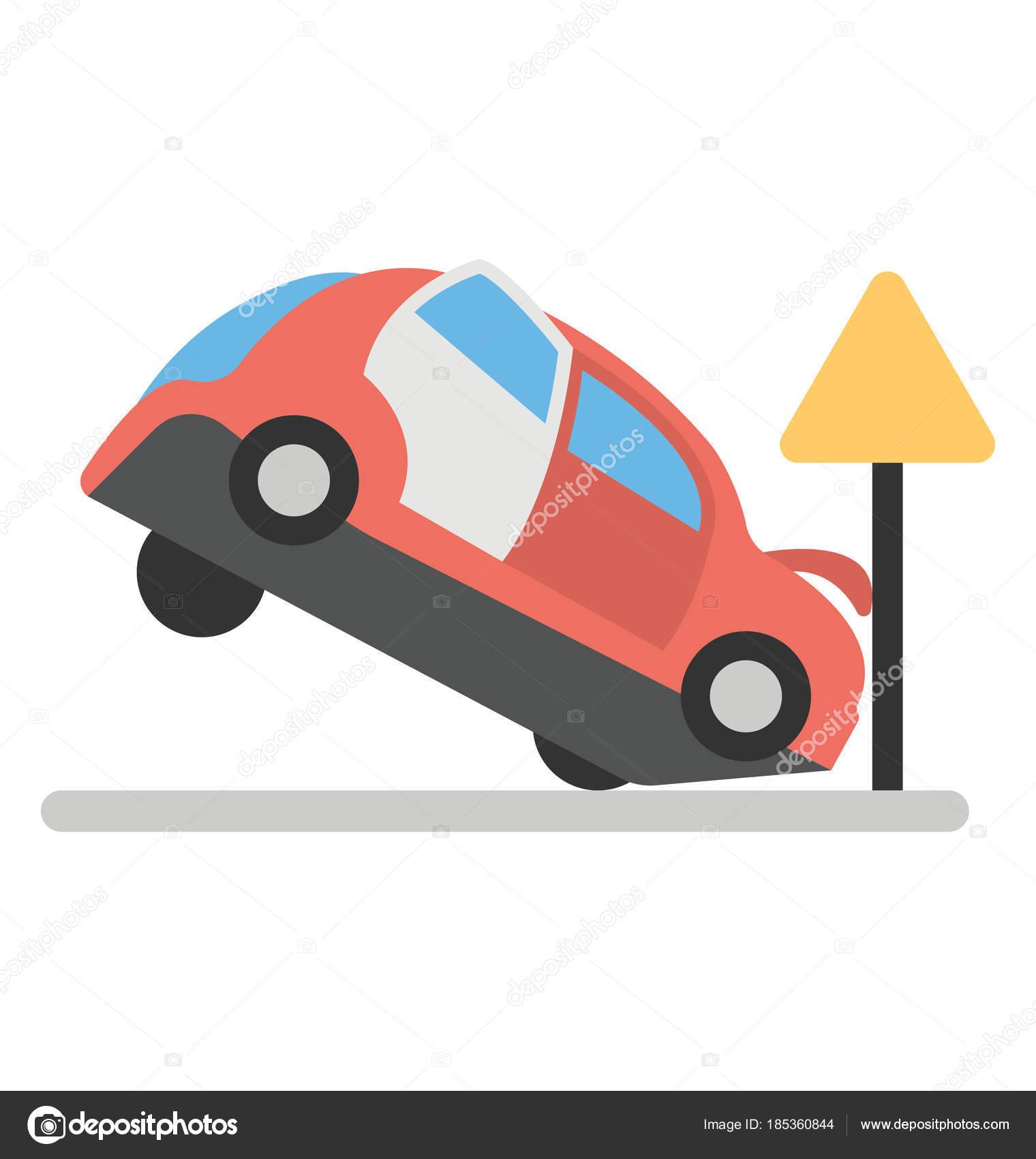 Flat Icon Design Car Accident