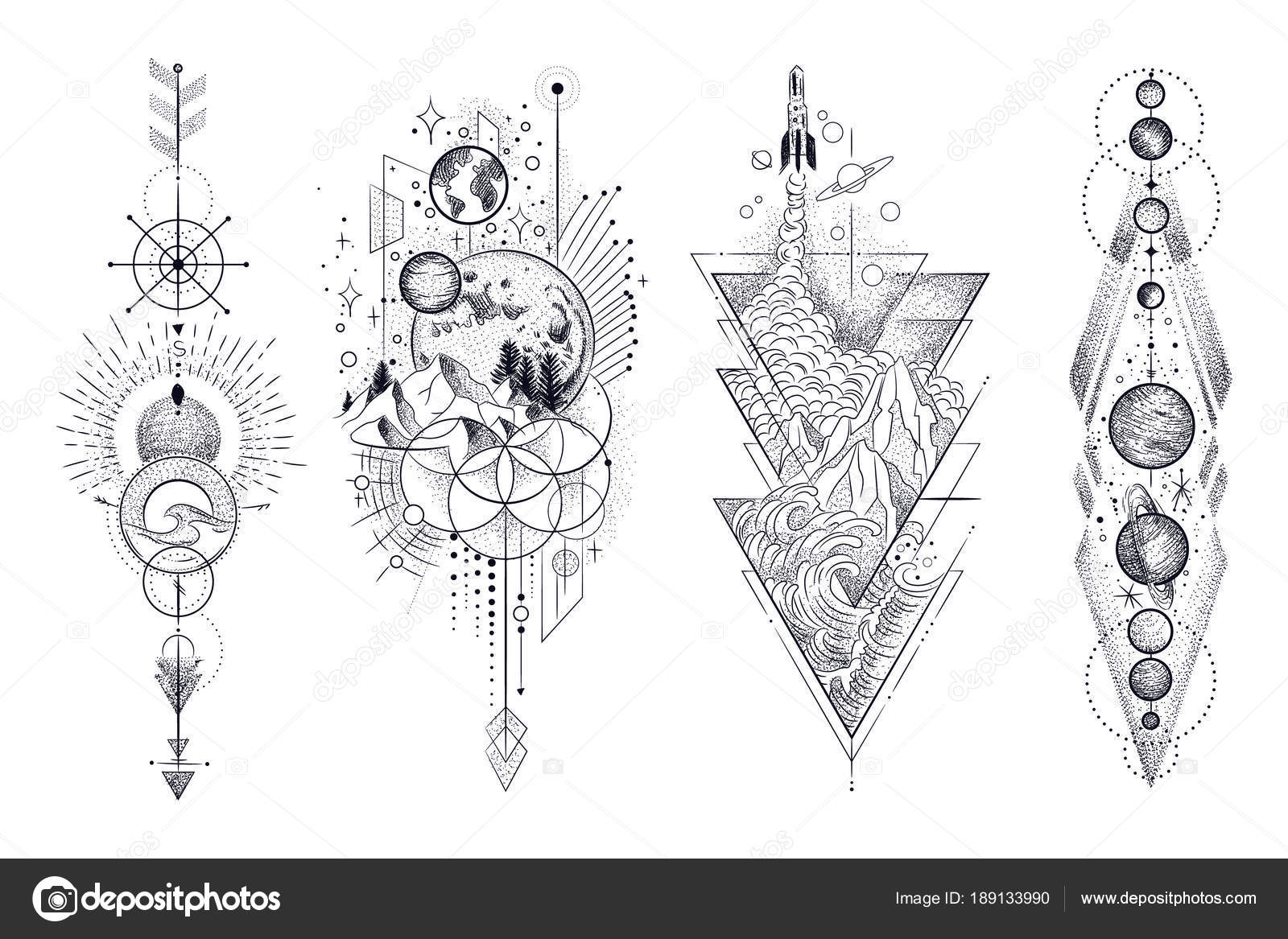 Vector Illustration Set Moon Phases Different Stages