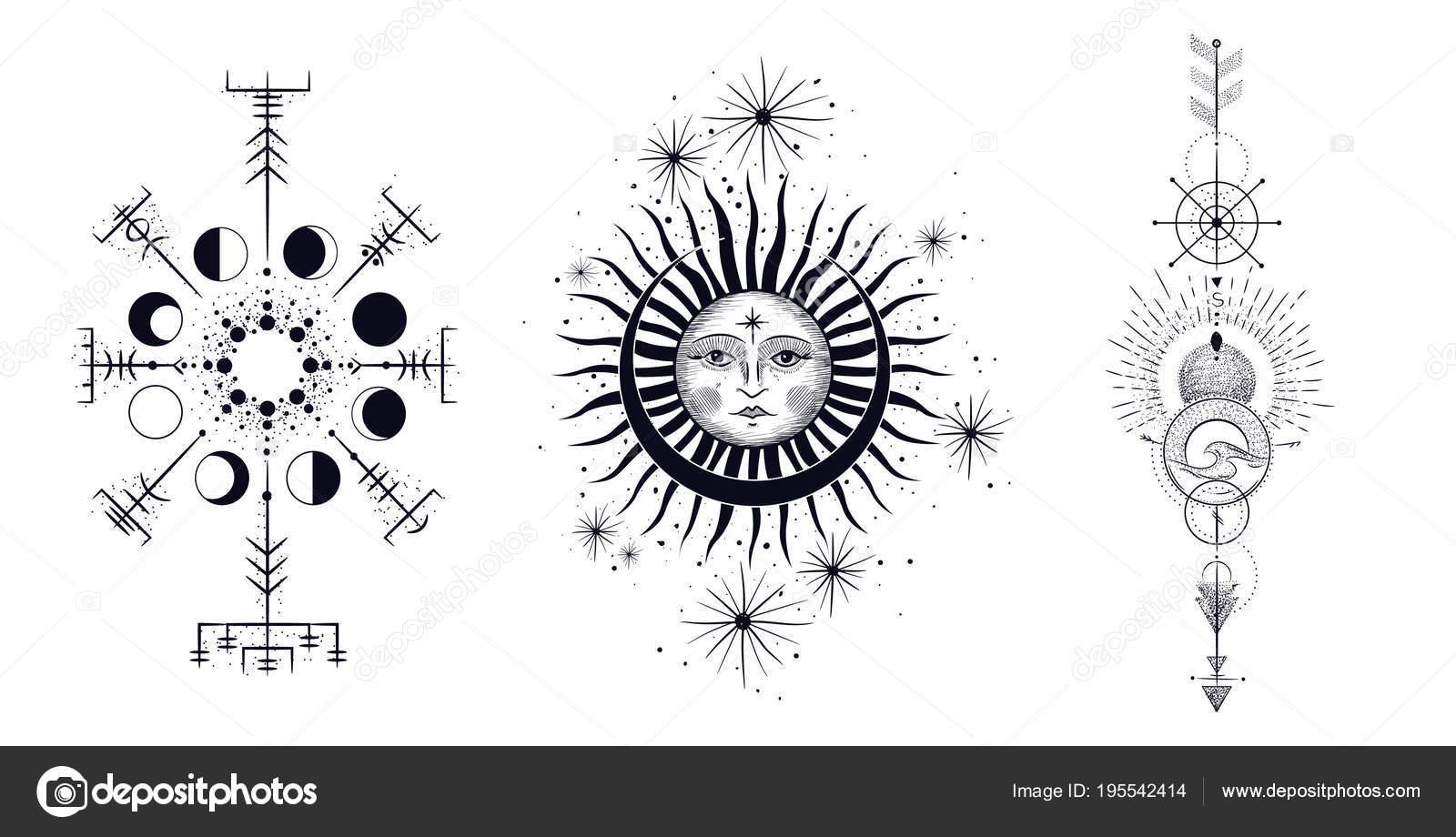 Cara Del Sol Luna Las Estrellas Tatuaje Masónico Diseño Camisetas