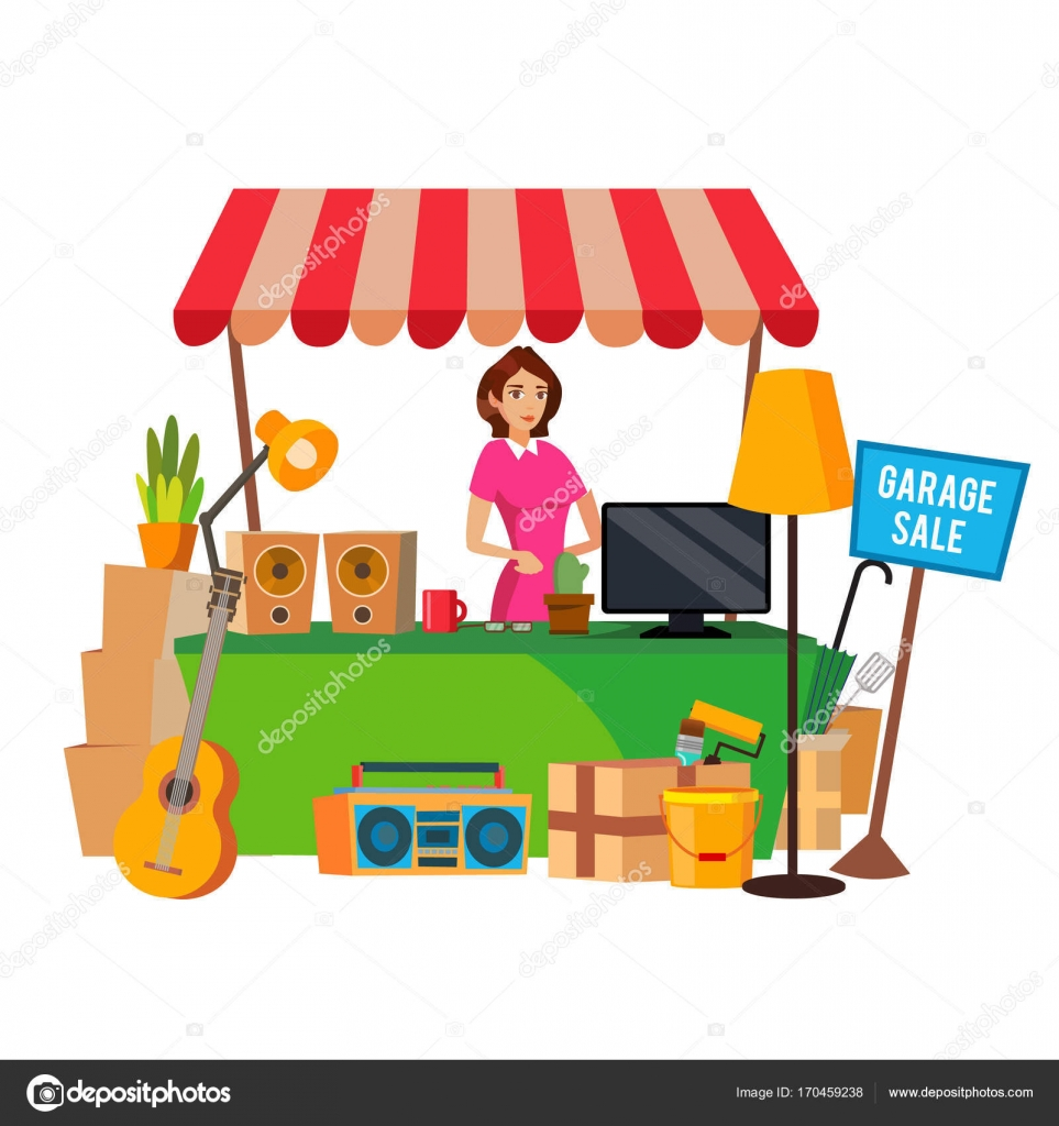hight resolution of garage sale vector assorted household items flat cartoon illustration royalty free stock vectors