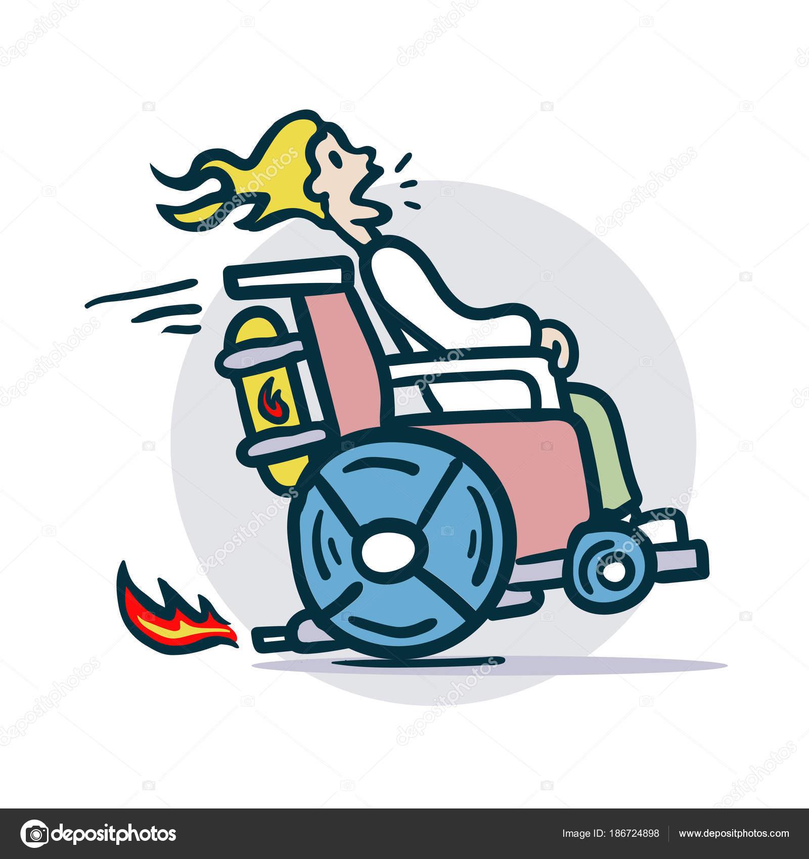 Persona en silla de ruedas se mueve rpidamente  Archivo