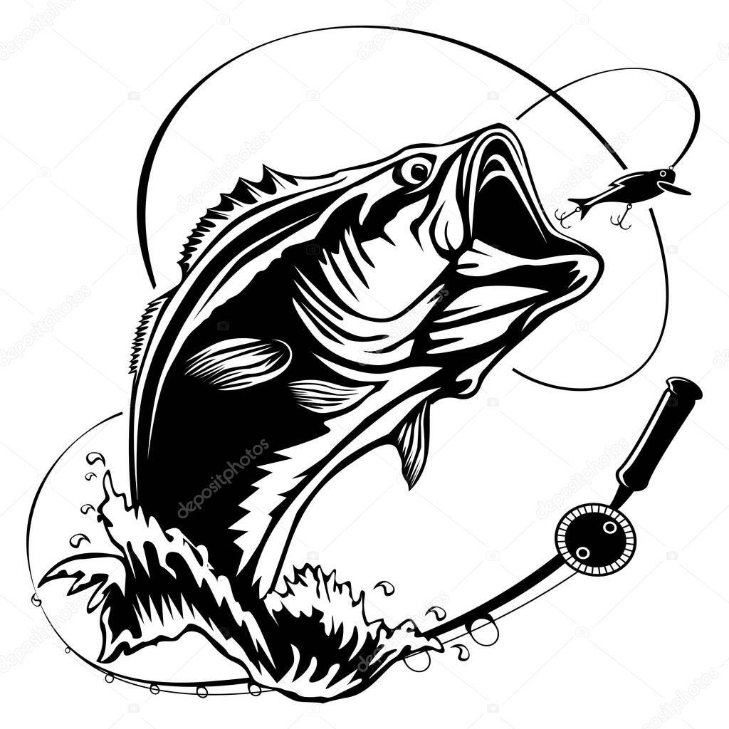 Fishing bass bigmouth — Stock Vector © LIORIKI #183753404