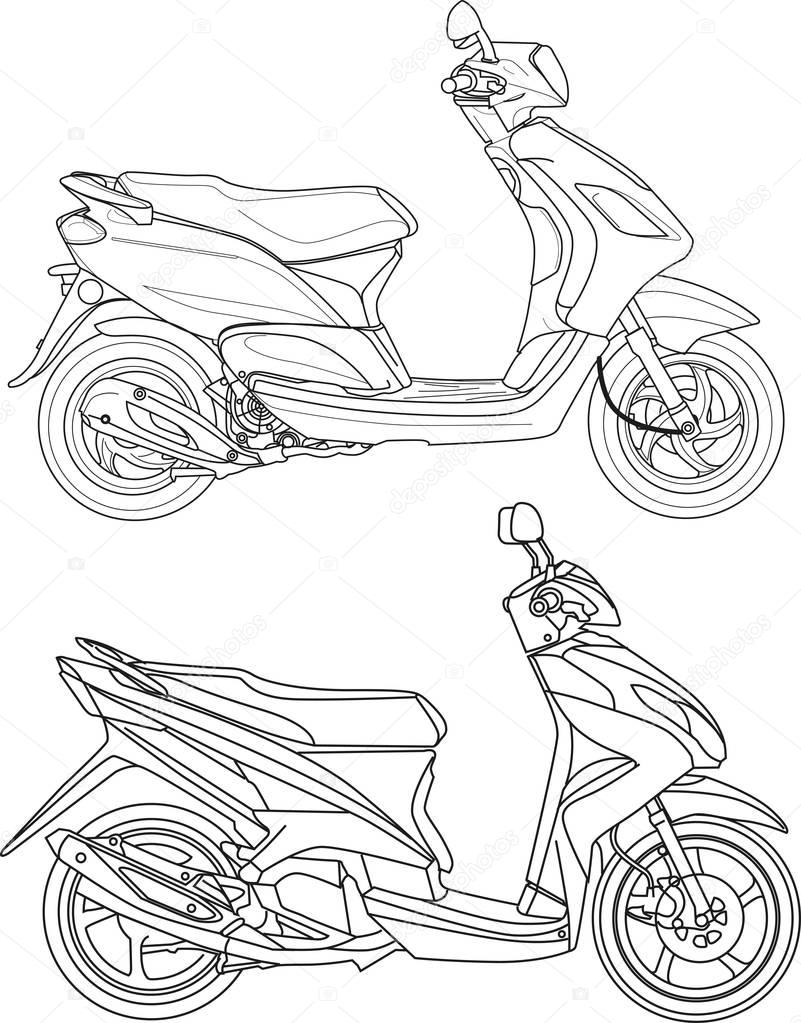 Honda Beat Vector : honda, vector, Vector, Illustration,, Motorcycle, Scooter, Outline, Style, Premium, Adobe, Illustrator, Format,, Encapsulated, PostScript, Format