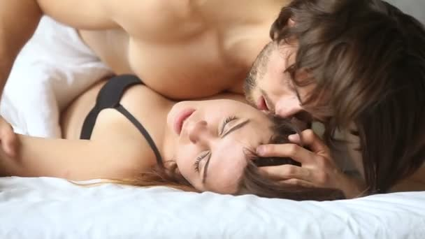 Young Couple Having Sex On Bed Sensual Woman Getting Orgasm Stock Video