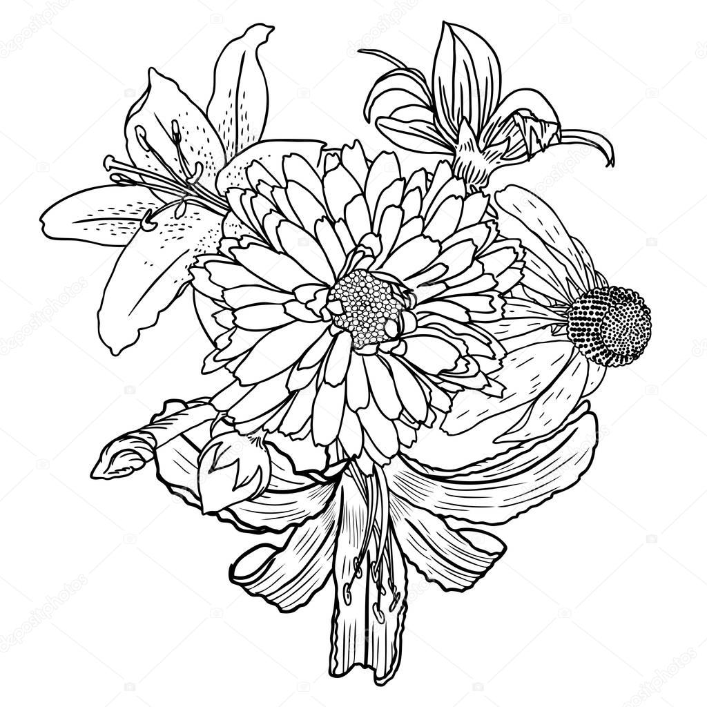 Jardín Vintage primavera ramo de dibujo — Vector de stock