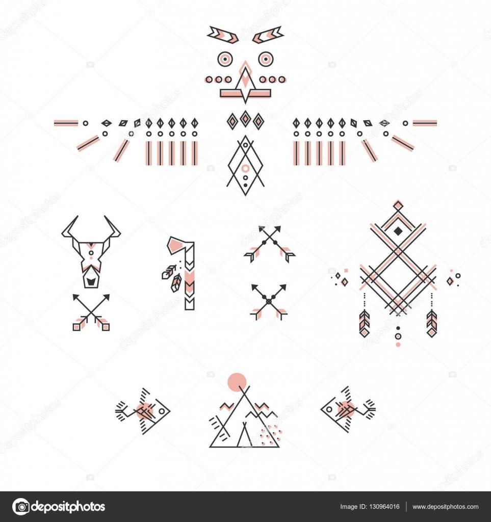 simbolo indiani damerica set di simboli indiani d america