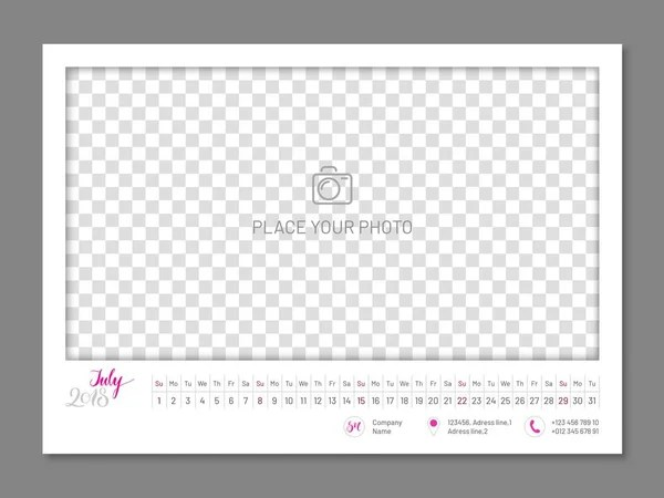 Simple wall calendar 2019 year, flat, isolated — Stock