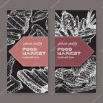 Two Food Market Labels With Meat Delicasies Based On Hand Drawn Sketches Of Cold Meats Sausages Grilled Chicken And Ribs Great For Market Restaurant Grill Cafe Food Label Design Premium Vector
