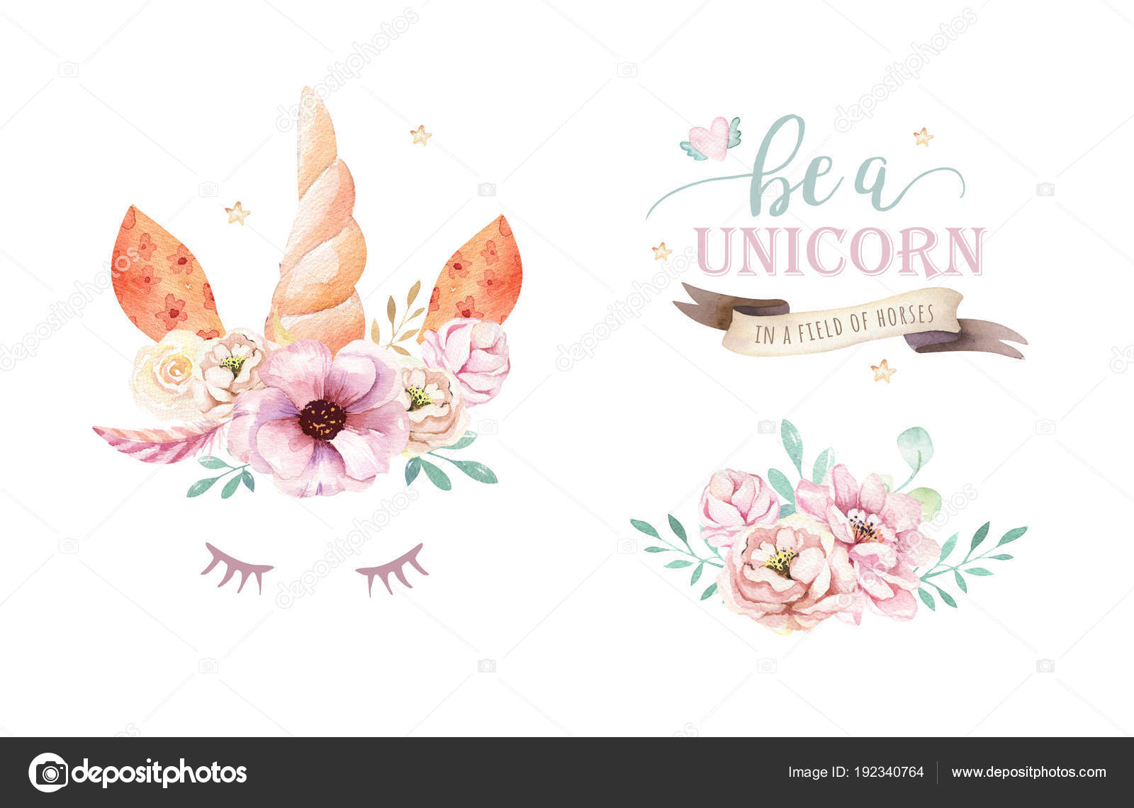 hight resolution of isolated cute watercolor unicorn clipart with flowers nursery unicorns illustration princess rainbow poster
