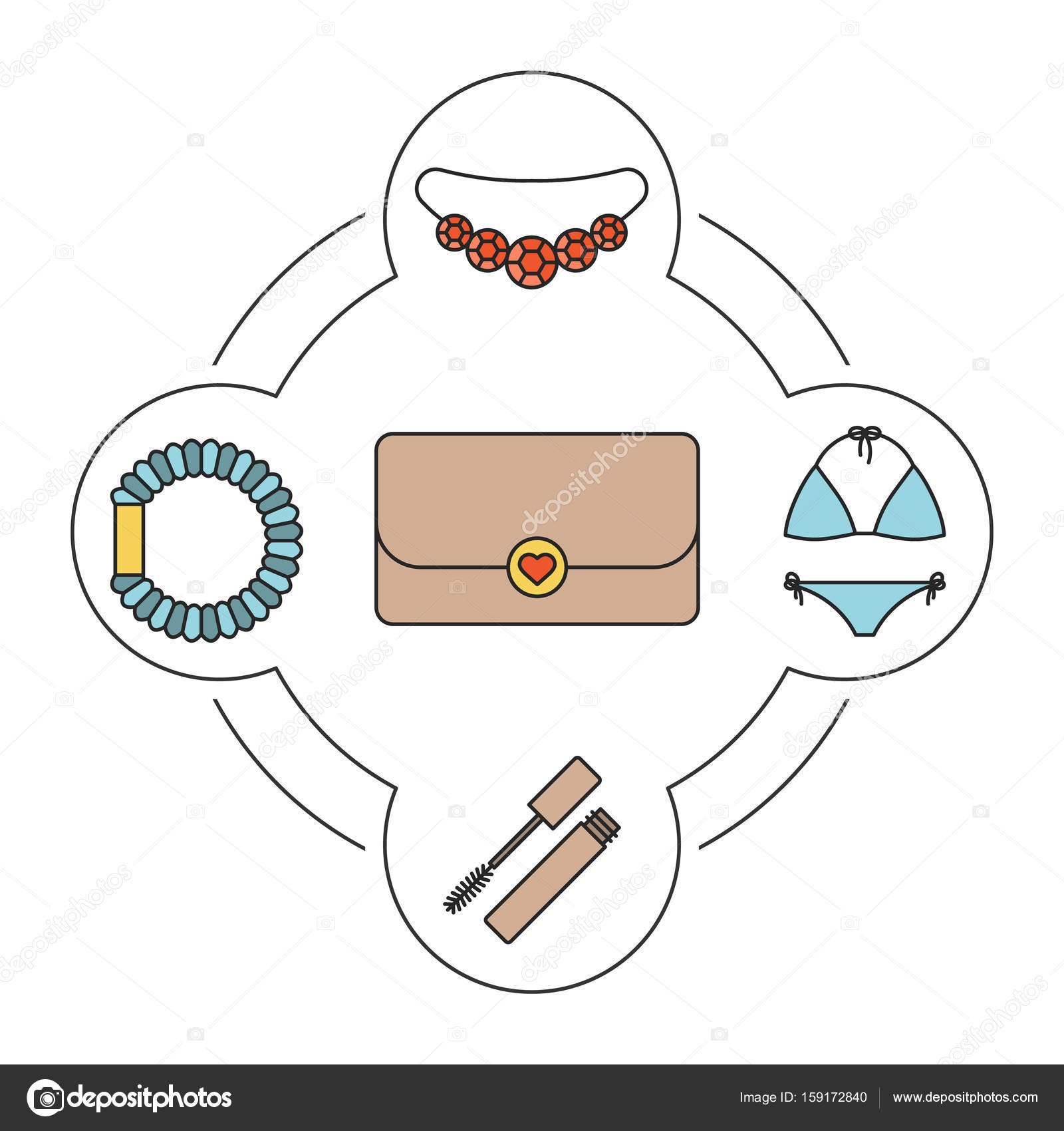 hight resolution of women s purse contents icons set stock vector
