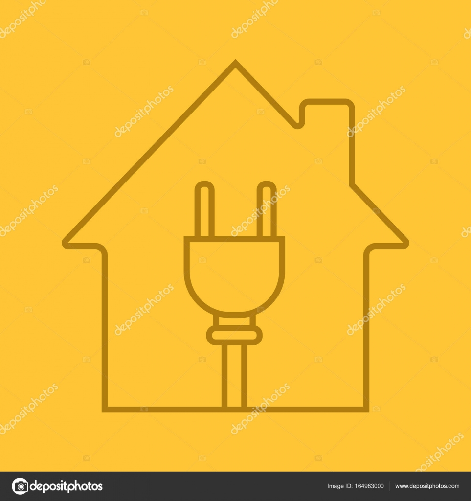 hight resolution of house with wire plug inside linear icon electric utilities home electrification thin line outline symbols on color background house wiring