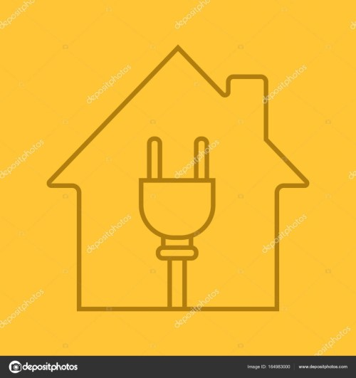 small resolution of house with wire plug inside linear icon electric utilities home electrification thin line outline symbols on color background house wiring