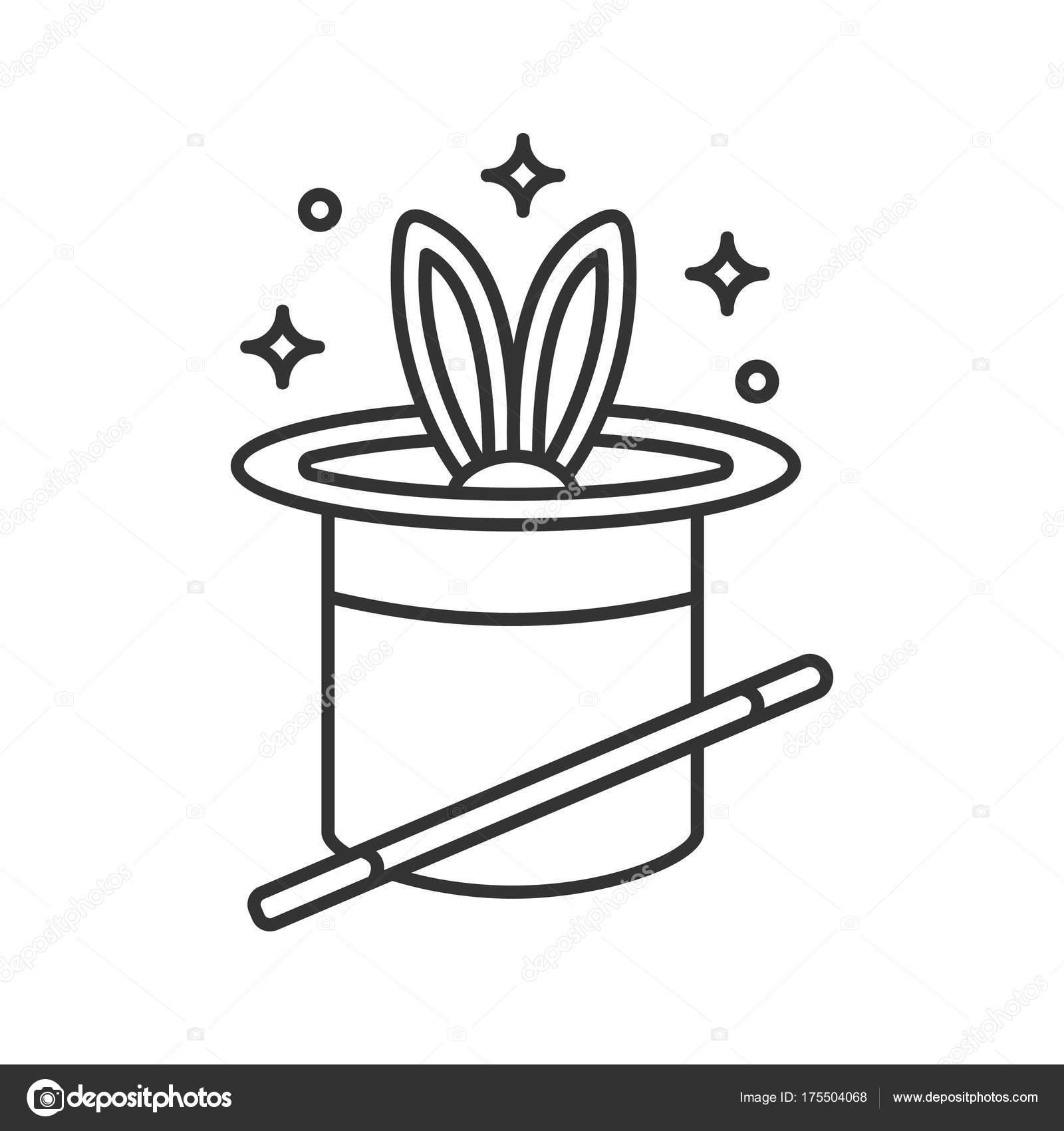Conejo Sombrero Magia Icono Lineal Tubo Ilustracion Linea