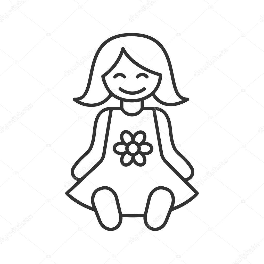 Icono Lineal Muneca Bebe Ilustracion Linea Delgada Simbolo