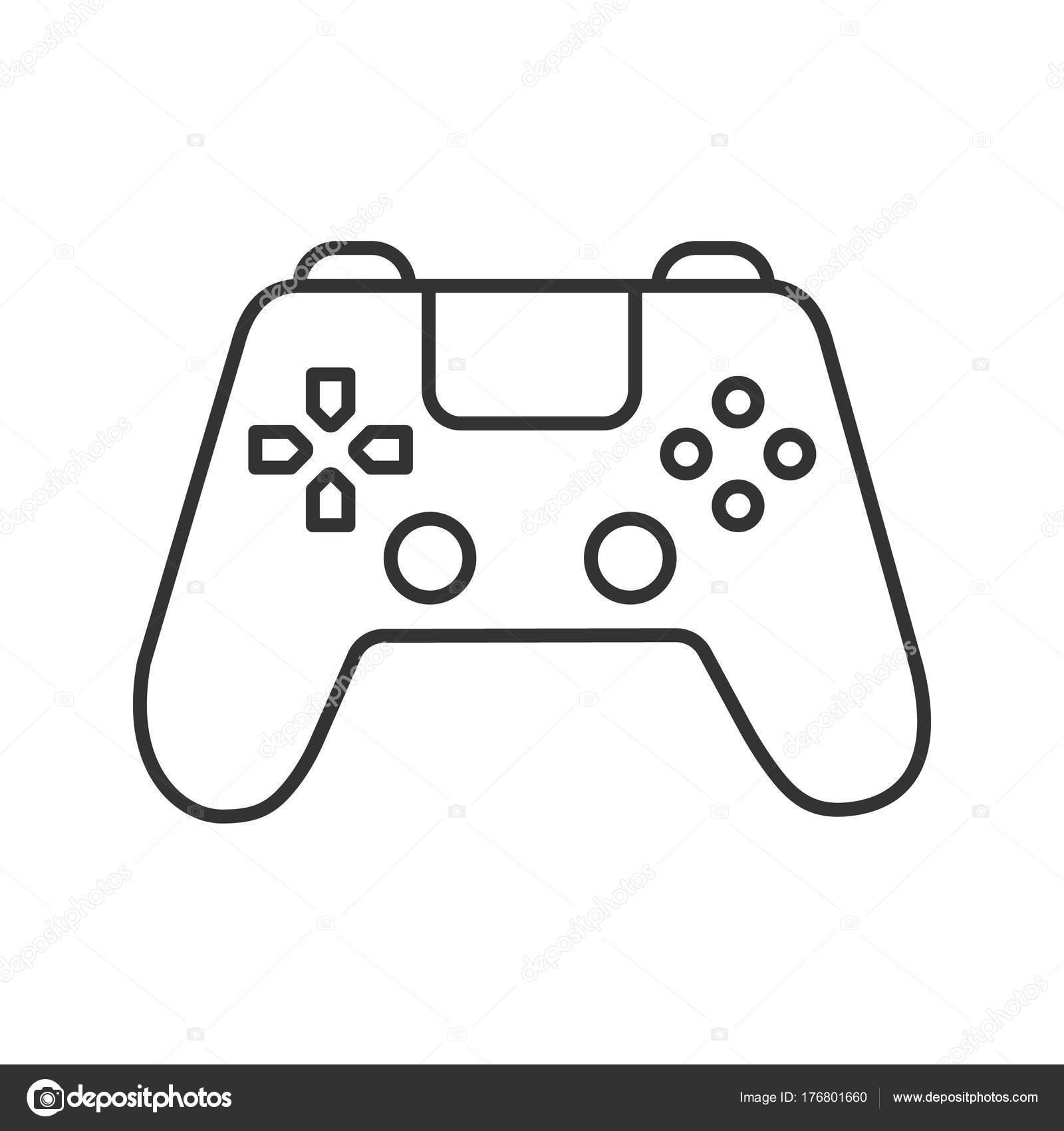 Gamepad Lineaire Pictogram Illustratie Van Dunne Lijn Joystick Contour Symbool