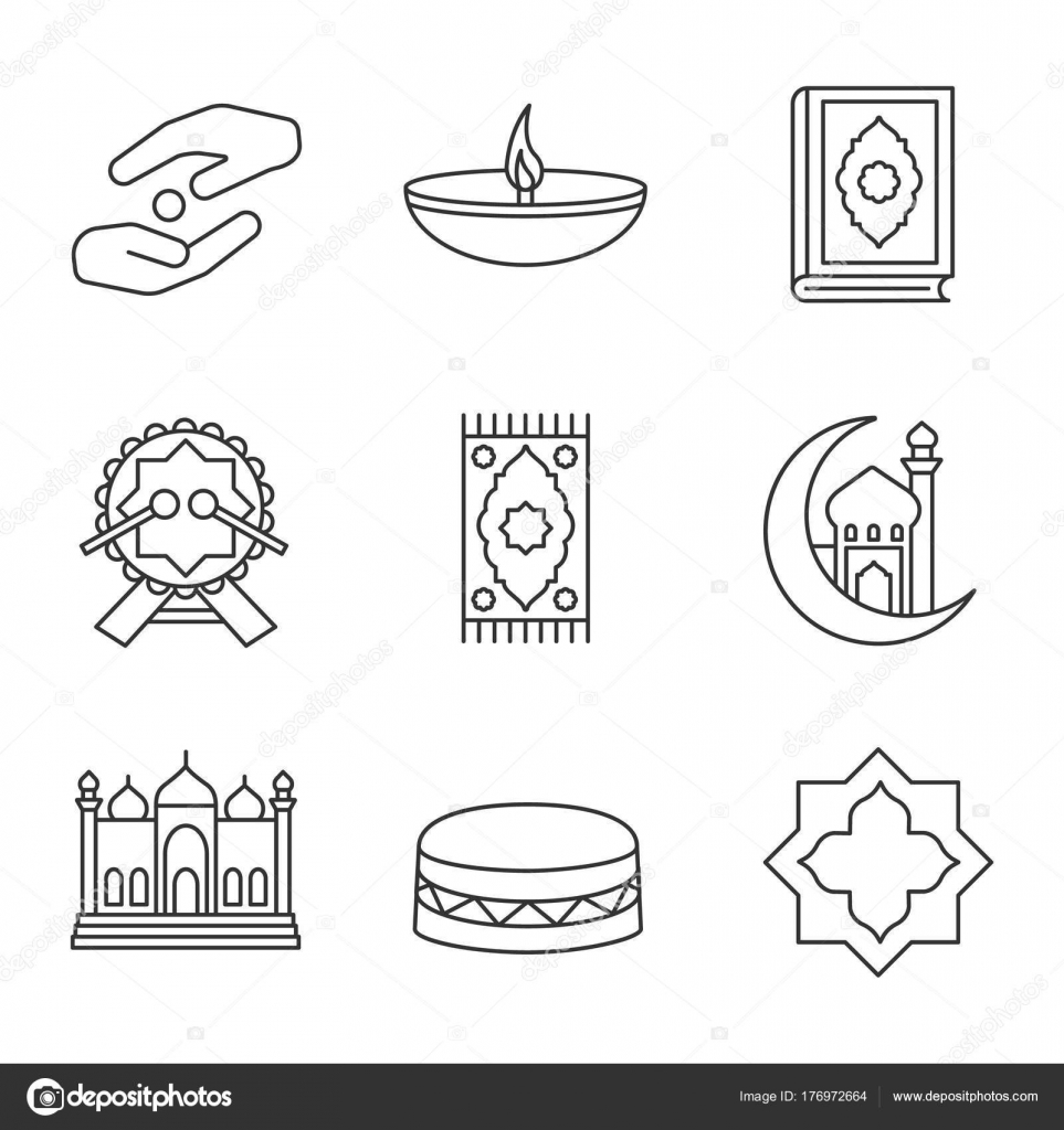 Islamic Culture Linear Icons Set Zakat Oil Lamp Quran Book