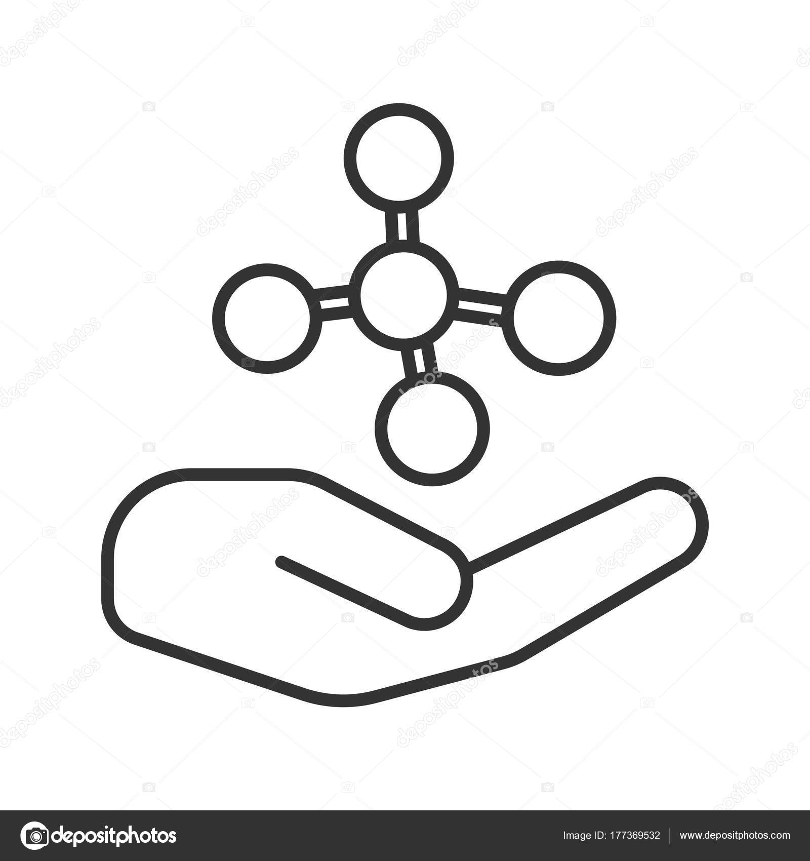 Open Hand Molecule Linear Icon Chemical Contamination