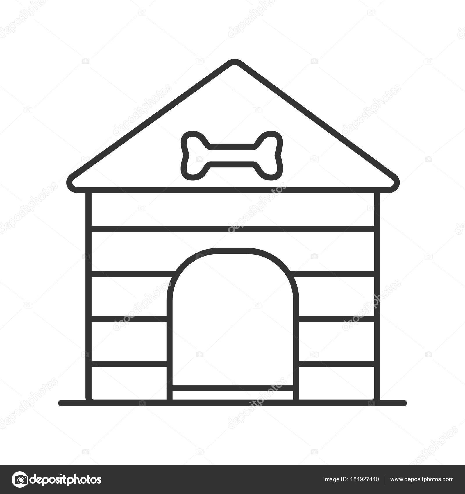 Ícone Linear Casa Cão Ilustração Linha Fina Canil Símbolo