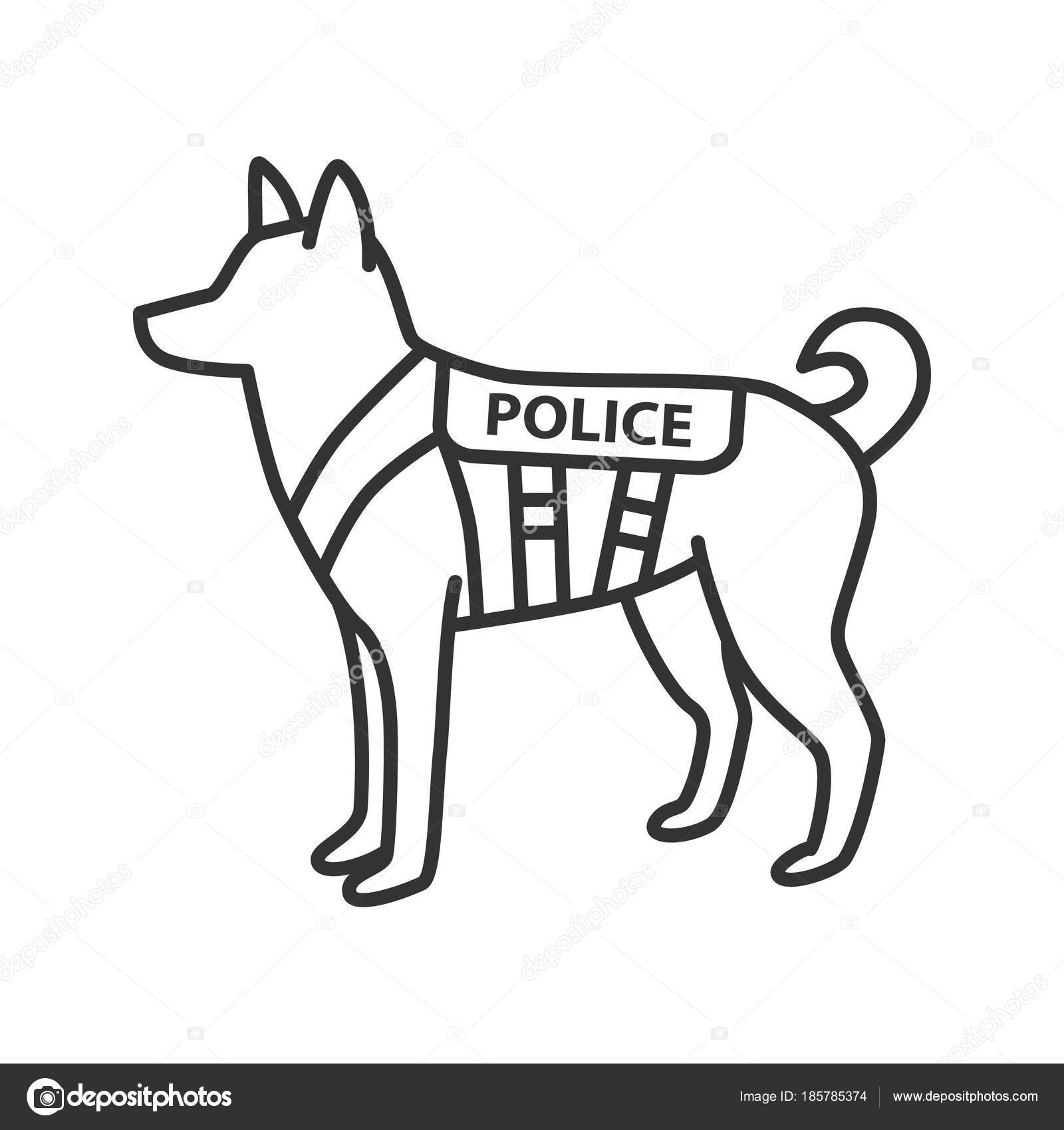 Police Dog Linear Icon German Shepherd Military Dog Breed