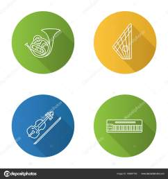 musical instruments flat linear long shadow icons set french horn stock vector [ 1600 x 1700 Pixel ]