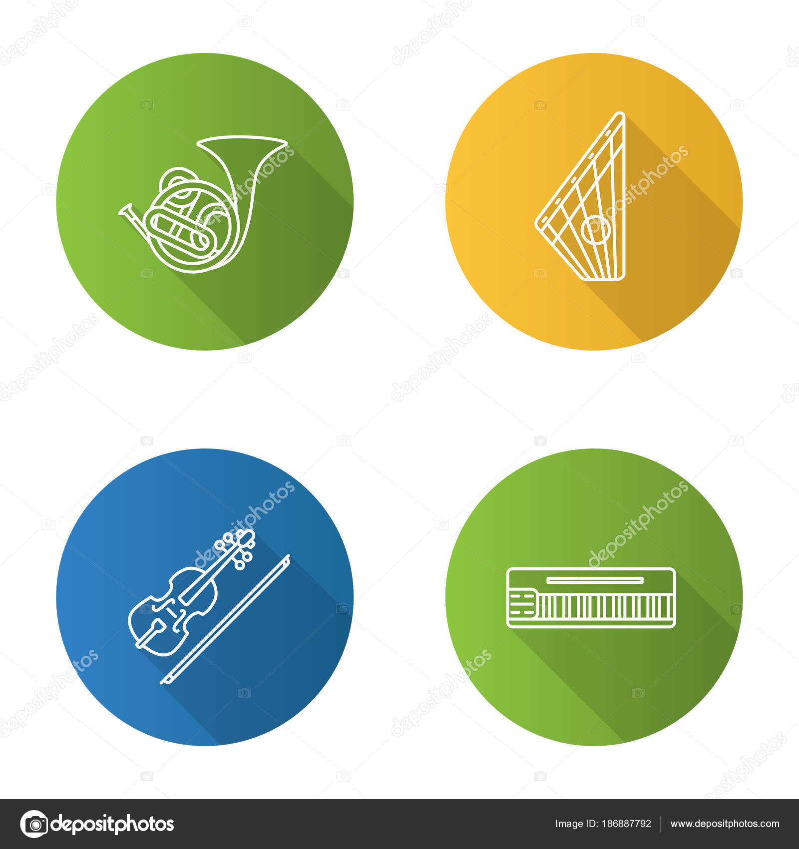 hight resolution of musical instruments flat linear long shadow icons set french horn stock vector