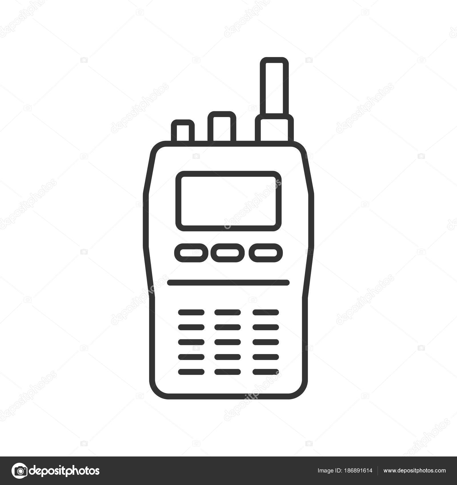 Walkie Talkie Linear Icon Thin Line Illustration Police