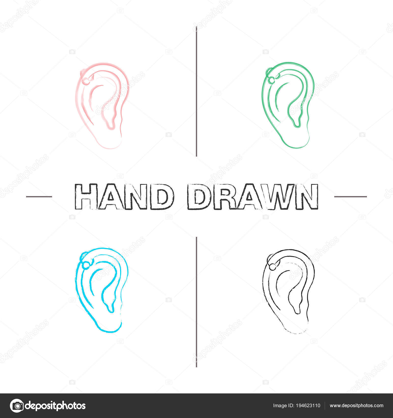 cartilage piercing diagram lutron led dimmer wiring helix hoop hand drawn icons set pierced ear stock vector