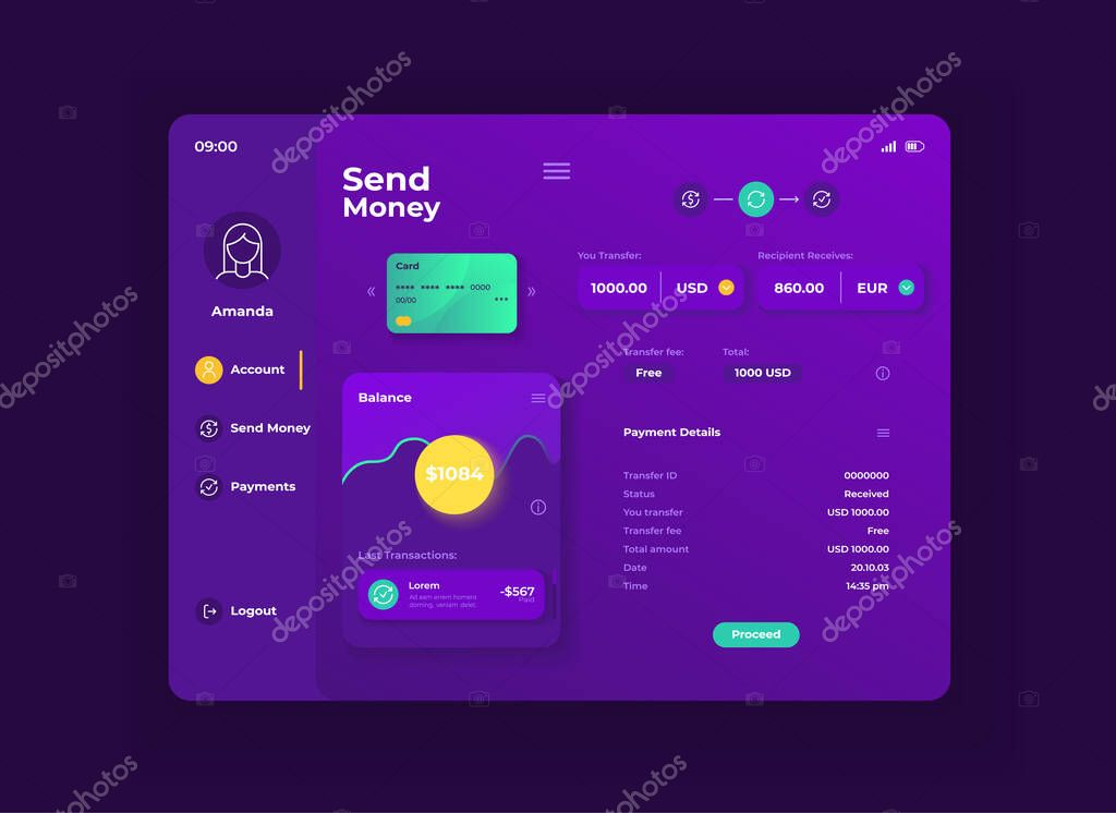 Online Bank Application Tablet Interface Vector Template Mobile App Page Night Mode Design Layout User Account Screen Flat Ui For Application Balance Transactions Info On Portable Device Display Premium Vector In