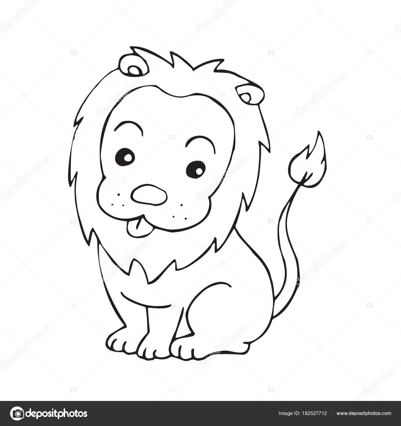 Cute Cartoon Lion White Background Childrens Prints Shirt
