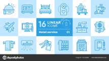 Linear Icons Set Of Hotel Services. Suitable Print