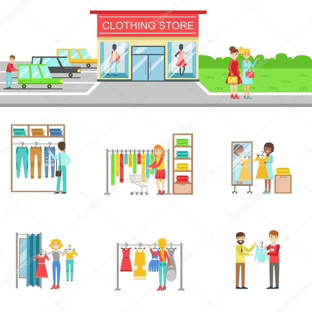 服裝店的外表和購物的人設置的插圖 — 圖庫矢量圖像© TopVectors #129660164