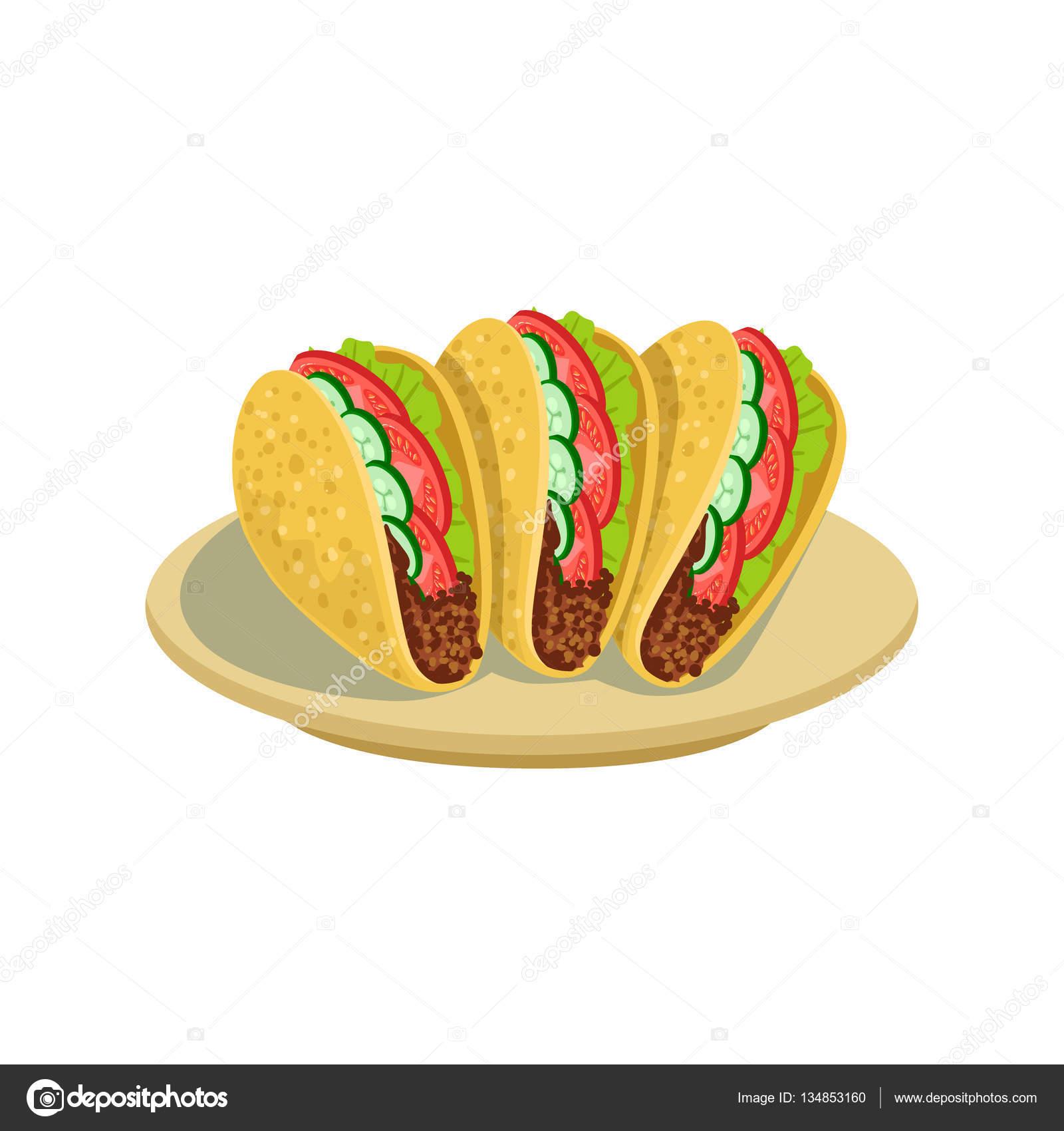 Tacos cocina mexicana tradicional alimento de plato de Cafe men Vector ilustracin  Archivo Imgenes Vectoriales  TopVectors 134853160