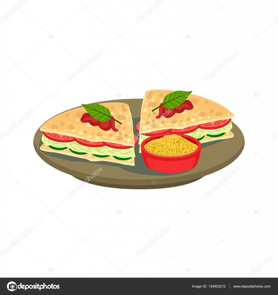 Quesadilla cortada Sandwich cocina mexicana tradicional plato alimento de Cafe men Vector ilustracin  Vector de stock  TopVectors 134853212
