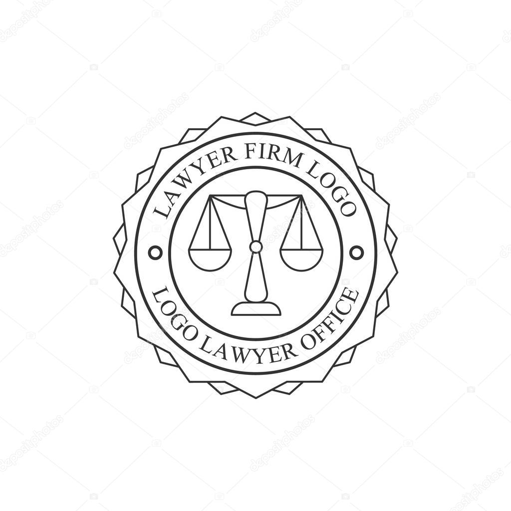 Law Firm And Lawyer Office Black And White Logo Round